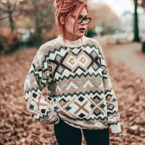 Vintage Sweaters - Vintage   Geometric Cable Knit Oversized  Sweater